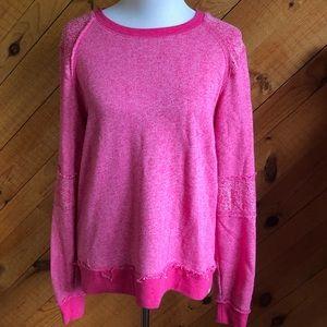 "Volcom bright pink distressed ""lived in sweatshirt"